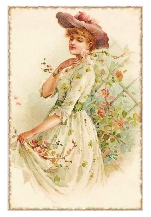 Платье старинные открытки, статусы для