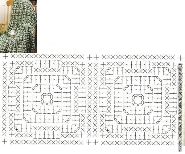 Для изделий, вязаных крючком схемы квадратов очень актуальны.