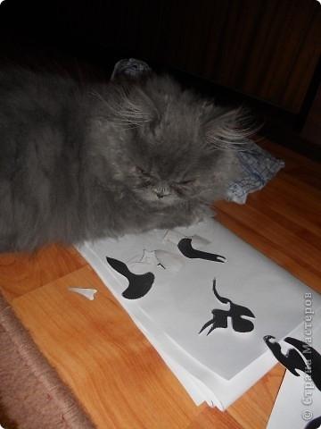Затем ножницами вырезаем наш рисунок. Помощь пушистых друзей приветствуется:)