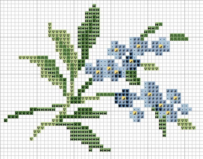 """Схемы вышивки крестиком  """"Цветы """". маленькие.  Процитировали."""
