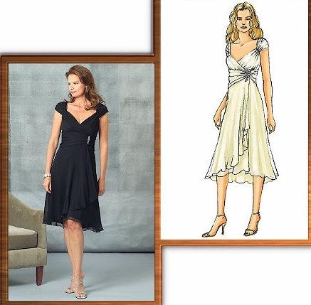 выкройка платья с асимметричной драпировкой от бокового шва.