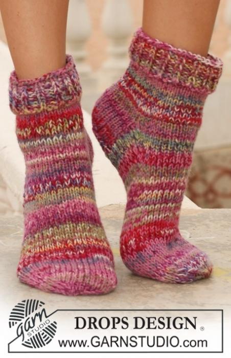 схемы вязания носков тапочек на спицах.