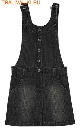 Сарафан из джинсовой ткани, на регулируемых бретелях, с карманами.