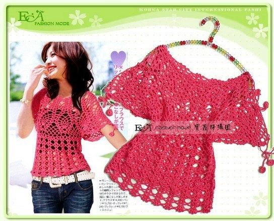 Схема вязания крючком розовой кофточки.  Схемы вязания кофты и блузки.