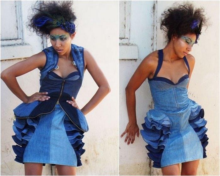 нарядное платье из старых джинсы. как сшить кутюрное платье из джинс.