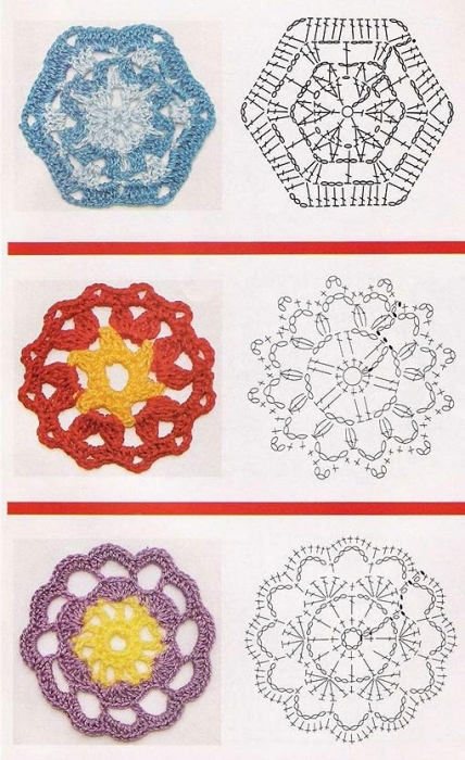 квадратные мотивы крючком со схемами.