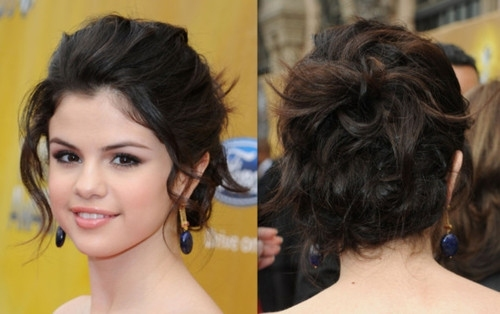 Selena Gomez Messy Updo  Cute hairstyles for short hair