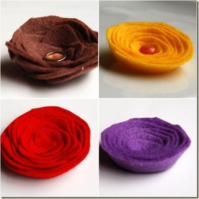 Четыре мастер класса.  Цветы из ткани, тесьмы, войлока, шелковых лент.