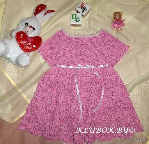 Комментарий: детское платье крючком схема.