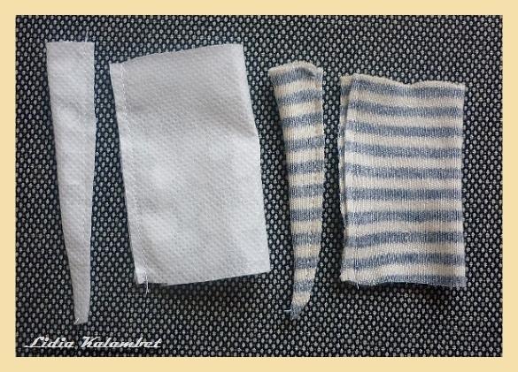 Складываем вдвое и сшиваем с одной стороны.