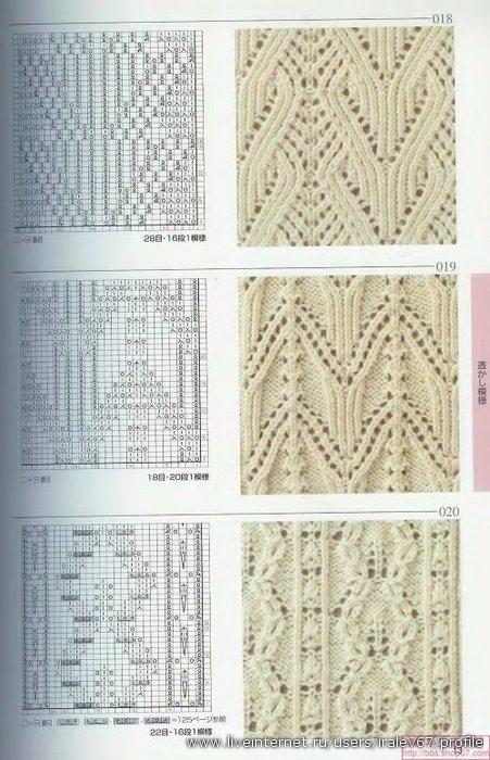 вязанию. схема вязания спицами листок.