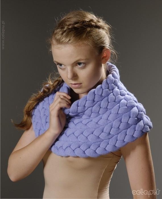 Вязаный плетеный снуд.  Идеи.