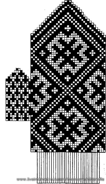 ...6-7 рядов, а резинка и узор - однотонный, лучше тёмный цвет.  Схемка 1.