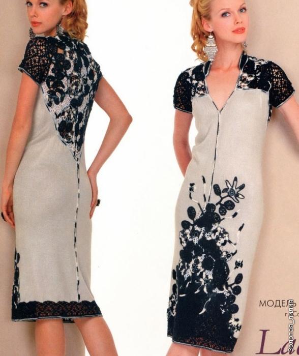 3c5e3bea3bfcf74 Платье из трикотажного полотна с отделкой ирландским кружевом. Обсуждение  на LiveInternet - Российский Сервис Онлайн-Дневников