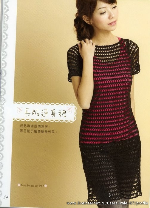 Основной узор вязания платья и выкройка.