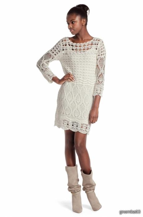 Белое платья крючком 8
