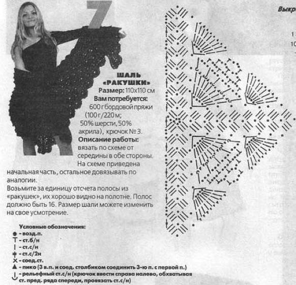Описание: вязание крючком шалей схемы - Вязание.