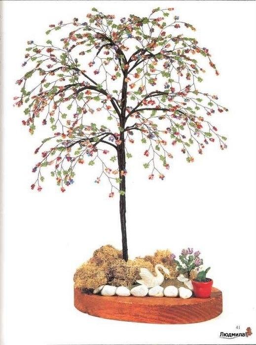 Цветы и деревья из бисера.  Схемы мастер класс.