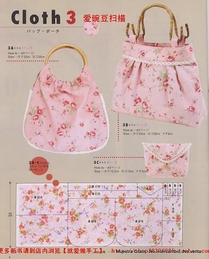 Простые сумочки,с подробными схемами выкройки.