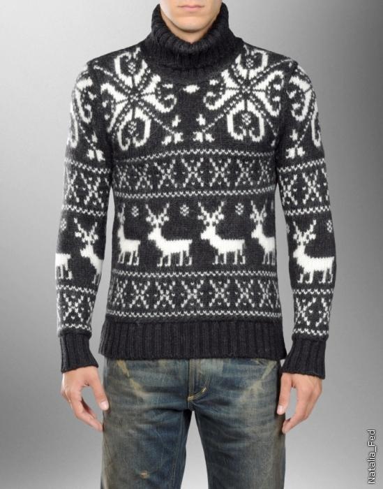 как связать свитер с оленями женский. мужская кофта с оленями вязание.