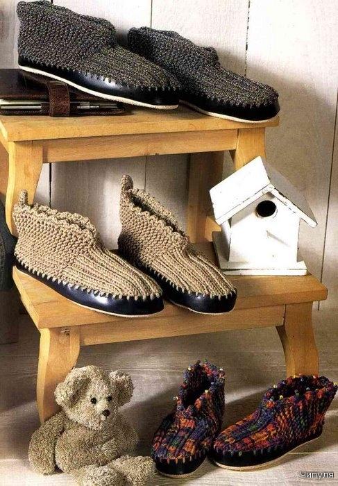 вязание спицы носочки тапочки схема.
