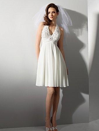 летнее венчальное свадебное платье с завышенной талией для беременных.